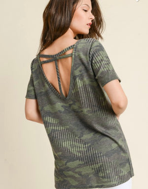 Ribbed camo T strappy back top