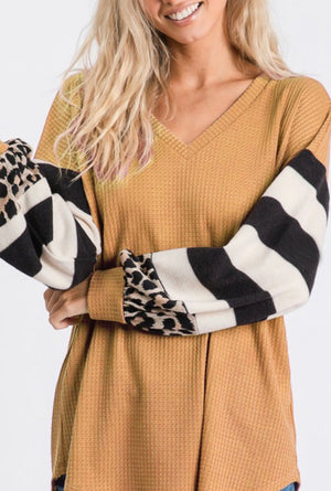 Waffle soft thermal stripe leopard sleeve