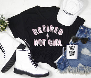 Retired Hot Girl v-neck tee