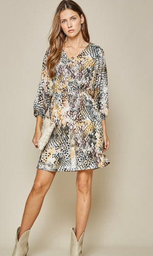 Snake print dolman mini dress (curvy available)