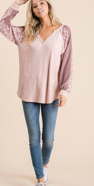Brushed terry top with constrast leopard sleeve