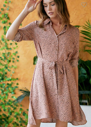 Shirt dress with waist tie mauve