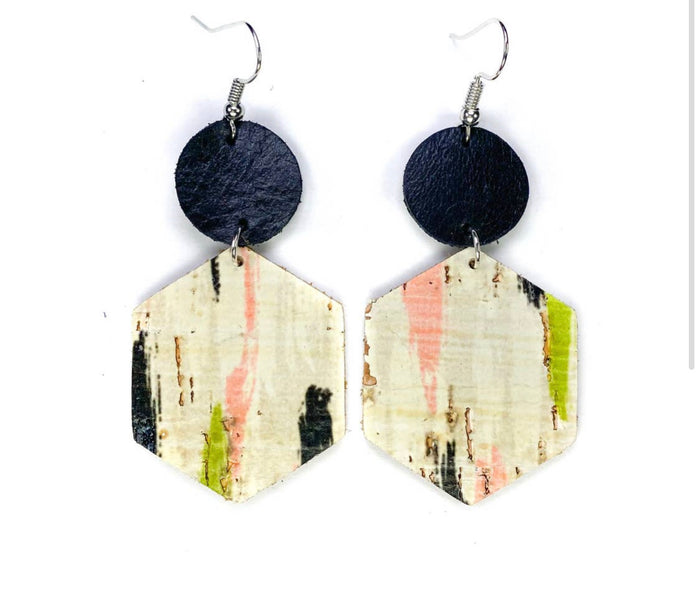 Leather Earrings- Watermelon Brush strokes Hexagons