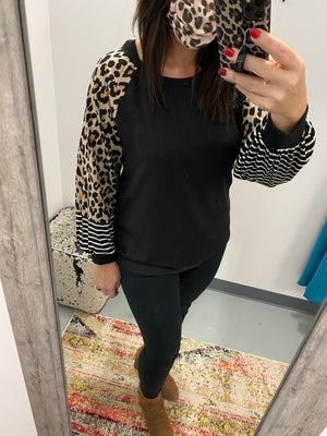 Double Knit Rib top with leopard puff sleeves