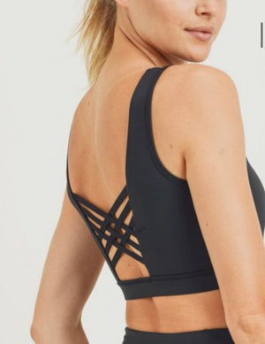Perforated Criss-Cross Back Bra Mono B green