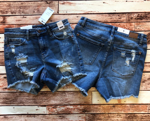 JUDY BLUE high waist destroyed denim shorts (curvy available)