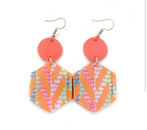 Leather Earrings- Rainbow Coral Chevron Hexagons