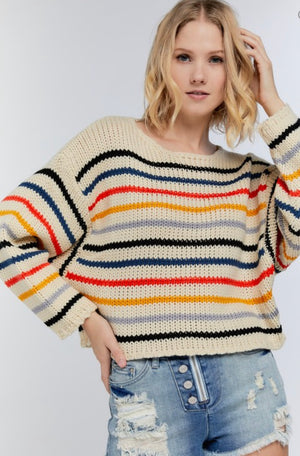 Multi stripe sweater round neck beige