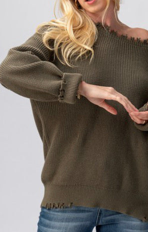 Frayed hem rib knit sweater