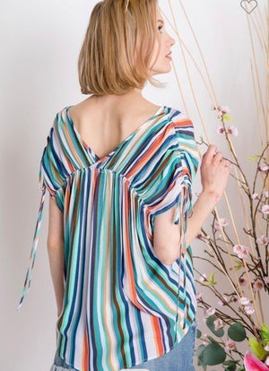Stripe Cinched Dolman sleeve top