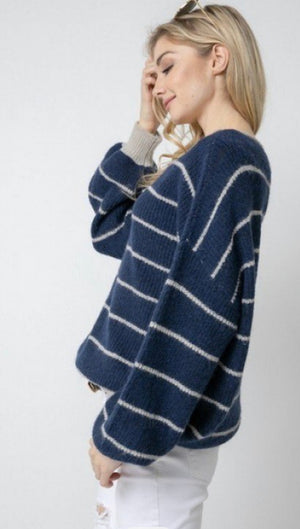 Stripe oversize longline sweater