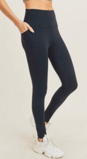 Tapered band essential solid high waist is legging with pockets (curvy available)