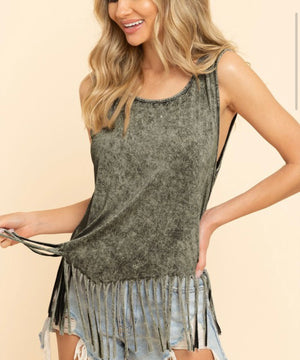 Fringe sleeveless top