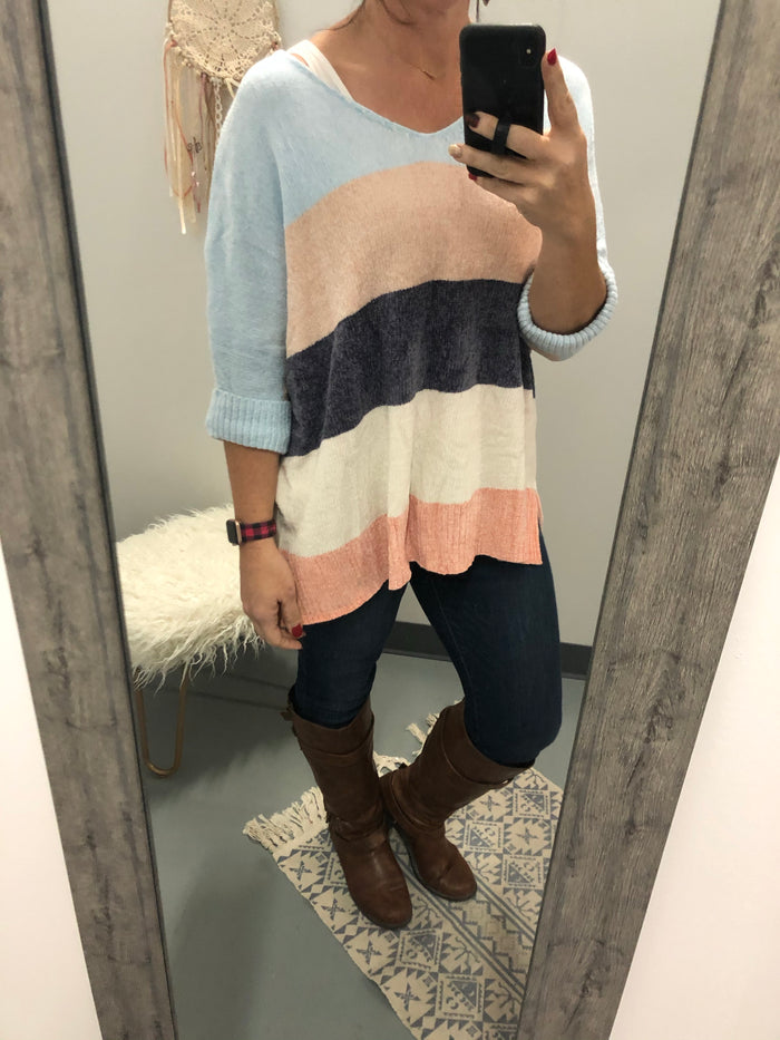 Multi stripe color block loose fit boyfriend chenille sweater top