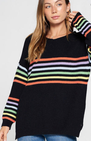 Rainbow stripe loose fit sweater