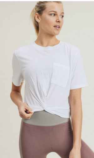 Twisted front gathered back athleisure crop top (2 colors)
