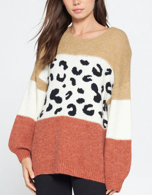 Round neck leopard sweater
