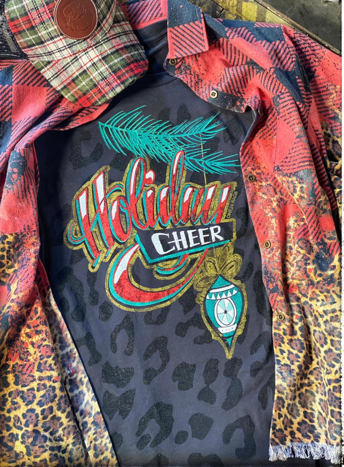 Holiday Cheer leopard tee