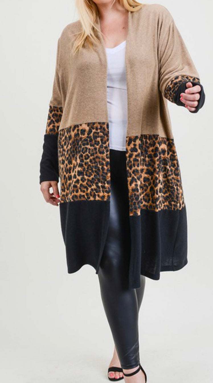 Contrast Brushed Knit leopard cardigan with pockets (curvy available)