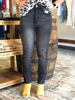 High rise straight cuffed ankle jean CELLO