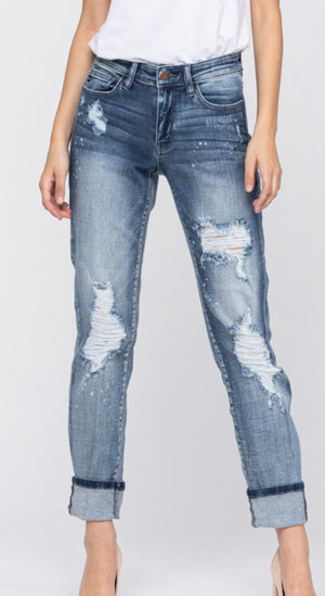 Judy Blue Destroyed Bleach Splatter Boyfriend Jean (curvy available)