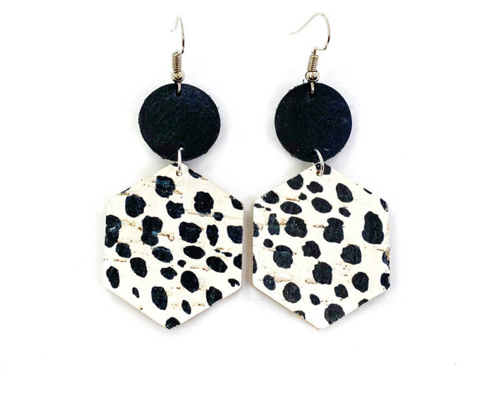 Dalmatian, Black and White Spot Leather Earrings