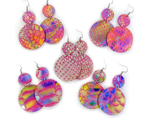 Leather Earrings- Tie Dye Metallic Snake Print Dangles