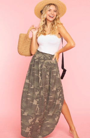 Camo printed smocked skirt