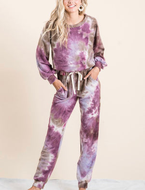 Tie Dye Fleece loose jogger pant