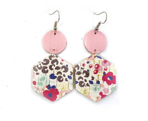 Leather Earrings- Brown Leopard and flower Hexagons