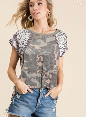 Camo knit top with animal print sleeves