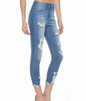 CELLO High Rise Distress ankle skinny