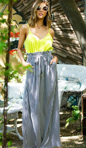 Striped skirt waist ruffle maxi dress