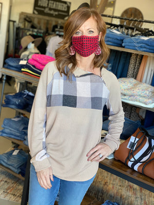 Double knit rib pullover with zip raglan