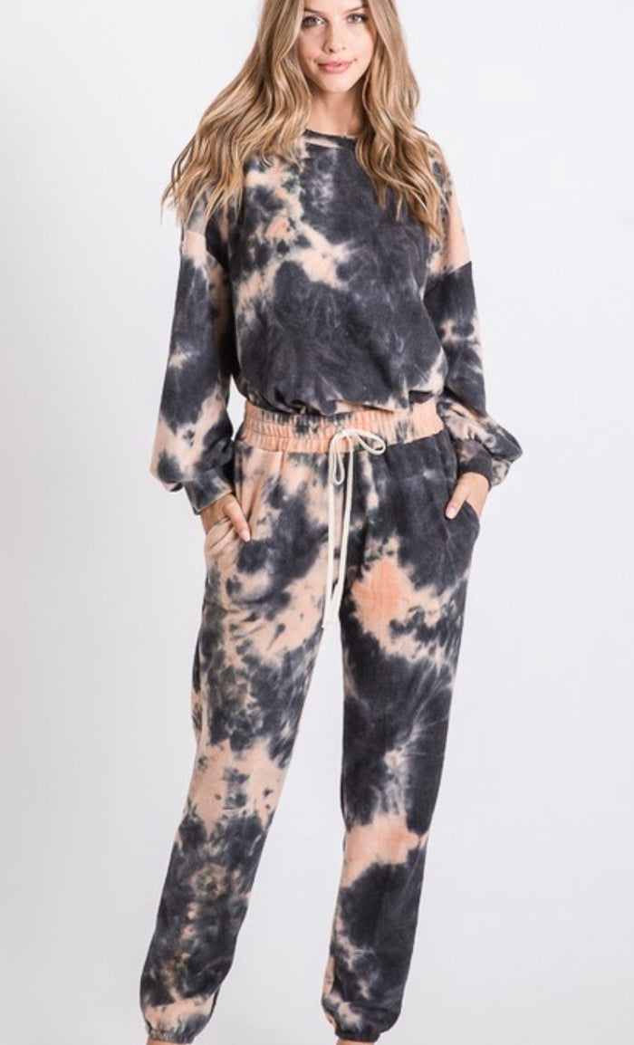 Brushed french terry Tie Dye Loose fit top