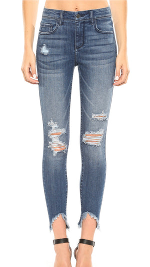 Cello brand Mid rise Destroy Frayed Crop skinny
