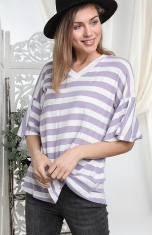 Stripe contrast over lap sleeve loose top