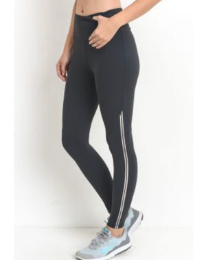 High waist contrast piping stripe legging