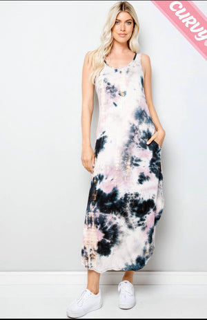 Sleeveless Tie Dye Mauve Ink dress (Curvy available)