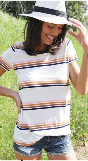 Retro striped short sleeve top
