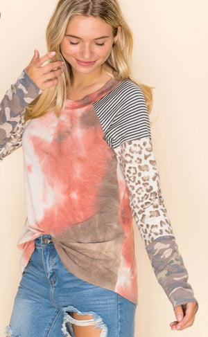 Mixed print long sleeve tie dye top