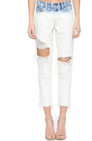 Slim boyfriend dip dye white crop CELLO brand