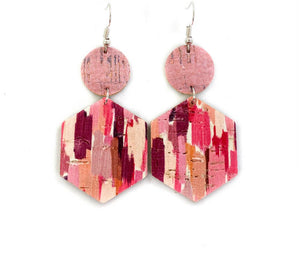 Pink Variated Leather Earrings