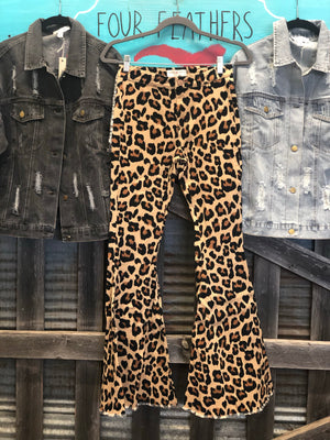 Flare leopard jean bell bottom