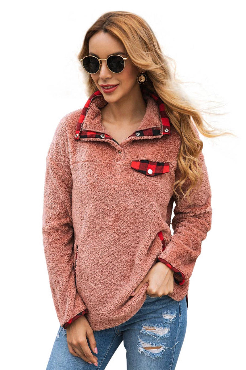 Plush buffalo plaid pullover