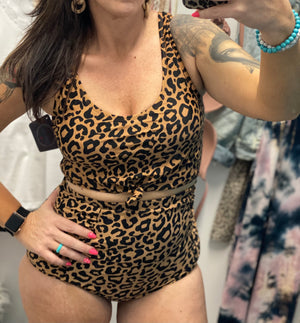 Leopard Print High Waisted Ruched swim Bottom