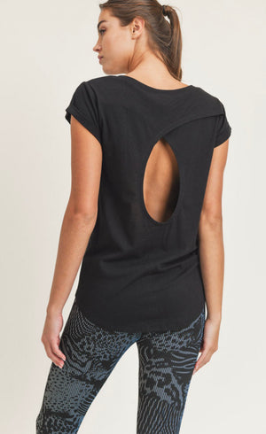 Overlay keyhole back athleisure top (2 colors)