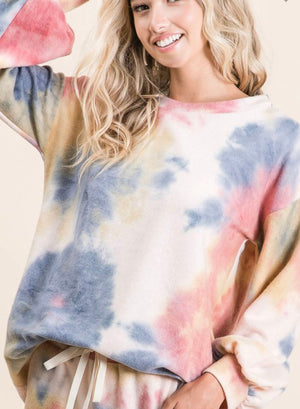 Tie dye fleece lounge top