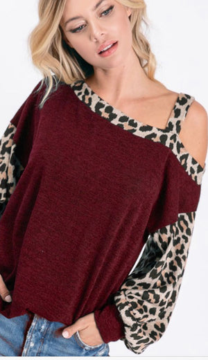 Sweater knit cold shoulder with leopard strap