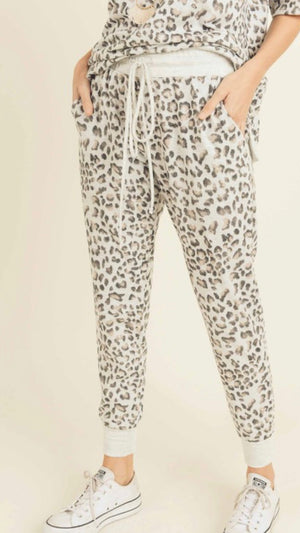 Leopard french terry jogger pant